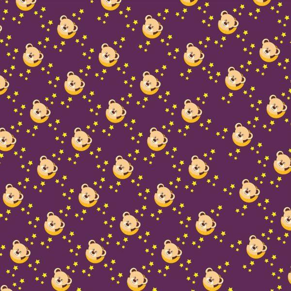 cute bear on a moon pattern purpura 65 2500x2499 1 Vectorency Cute Teddy Bear Pattern