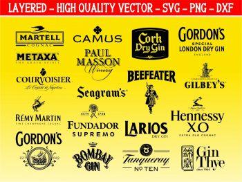 gin brandy logo svg bundle