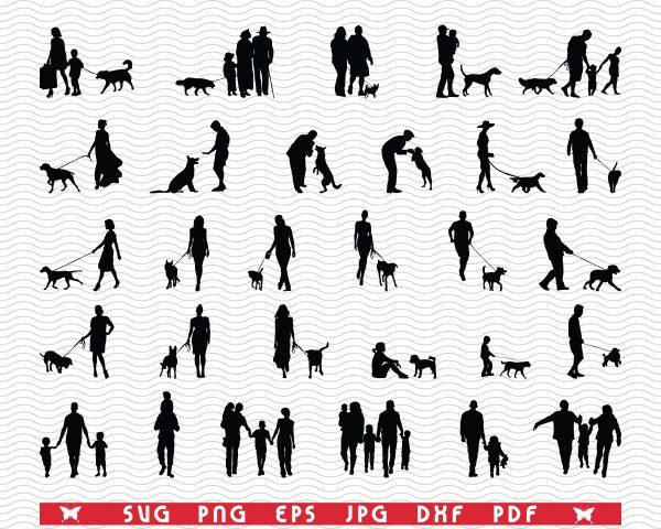 pozadina 6 Vectorency SVG, Family Dog, Black silhouettes, Digital clipart