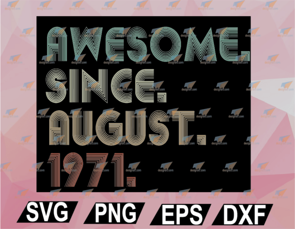 wtm web 02 35 Vectorency Awesome Since August 1971 50th Birthday For 50 Years Old Men SVG, EPS, DXF, PNG, Digital