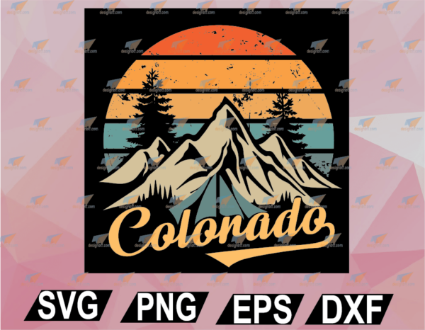 wtm web 02 41 Vectorency Colorado Tee - Retro Vintage Mountains Nature Hiking Camping SVG, EPS, DXF, PNG, Digital