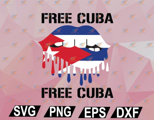 wtm web 02 57 Vectorency Cuba Flag and Lips Free Patria Cuban Pride y Vida Graphic SVG