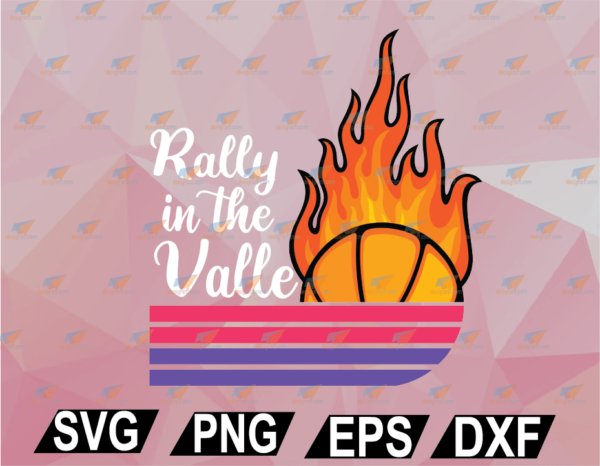 wtm web 02 66 Vectorency Womens Rally In The Valley Phoenix Flaming Basketball Retro Sunset V-Neck SVG, EPS, DXF, PNG, Digital