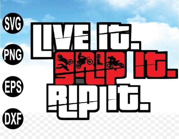 "wtm web 09 2 Vectorency Motocross SVG Files Art Print "" Live it Grip it Rip it "" - Dirt Bike SVG, PNG, EPS, DXF, cricut, Vector Silhouette"
