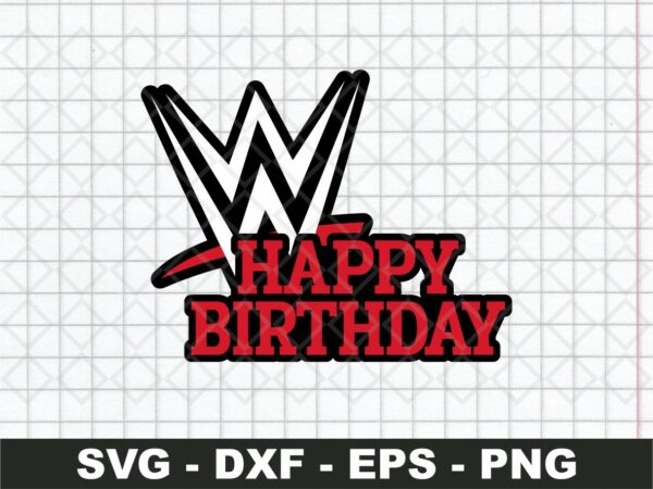 wwe happy birthday cake topper printable