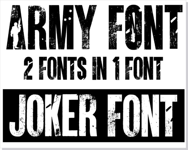 ARMY 1 scaled Vectorency Army font and Joker font in one font / open type font + letters and numbers svg / Distressed Font