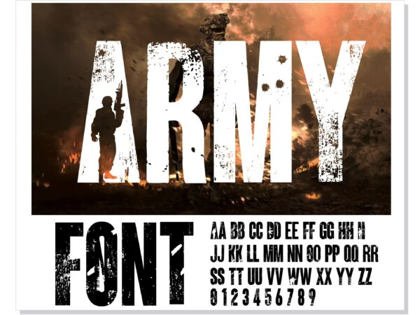 ARMY 11 scaled Vectorency Army font and Joker font in one font / open type font + letters and numbers svg / Distressed Font