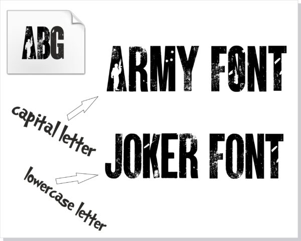 ARMY 2 scaled Vectorency Army font and Joker font in one font / open type font + letters and numbers svg / Distressed Font