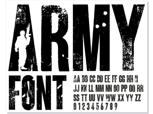 ARMY 3 scaled Vectorency Army font and Joker font in one font / open type font + letters and numbers svg / Distressed Font