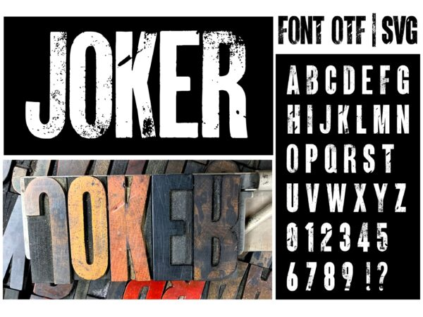 ARMY 4 scaled Vectorency Army font and Joker font in one font / open type font + letters and numbers svg / Distressed Font