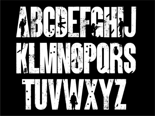 ARMY 6 scaled Vectorency Army font and Joker font in one font / open type font + letters and numbers svg / Distressed Font