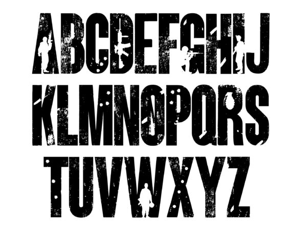 ARMY 7 scaled Vectorency Army font and Joker font in one font / open type font + letters and numbers svg / Distressed Font