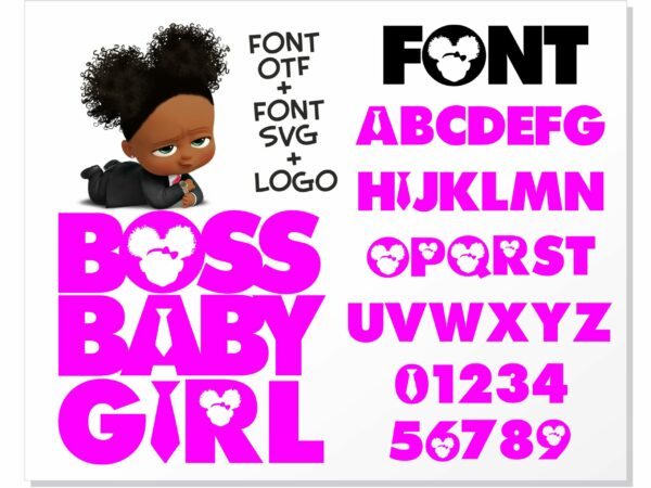 African American Boss Girl 1 scaled Vectorency African American Boss Baby Girl font / Boss Baby Girl font SVG + Boss Baby Girl font installable font OTF + Boss Baby Girl Logo svg png / Boss Baby Font