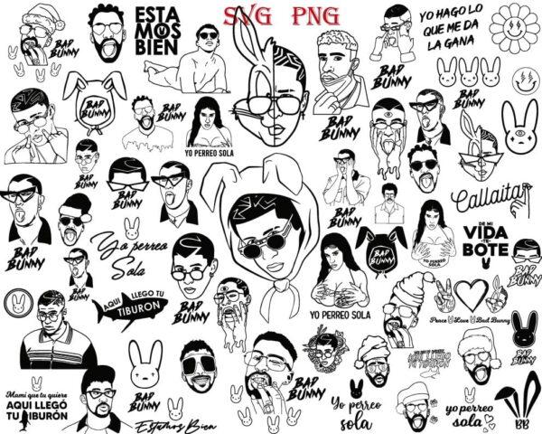 Bad Bunny REs 01 Vectorency Bad Bunny SVG, Bad Bunny Bundle SVG, Bad Bunny PNG