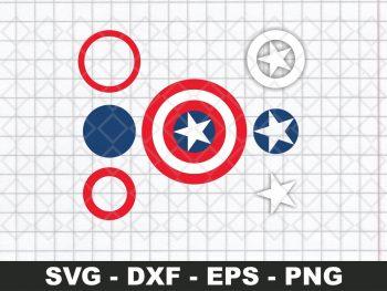 Captain America Logo Shield SVG Layered