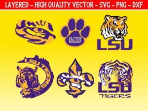 LSU Tiger SVG Bundle Instant Download Layered