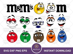 """M and M Faces and Letter """"M"""", M&M SVG"""
