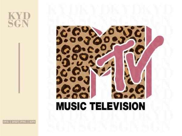MTV Old School Leopard Print Sublimation Design PNG Instant Download