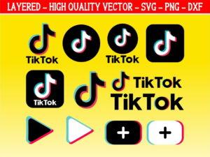 Tiktok logo SVG Layered Instant Download Cricut Silhouette Cameo
