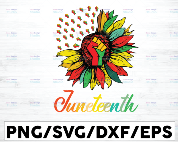 WTMETSY16122020 01 13 Vectorency Juneteenth Sunflower Fists PNG, African American History, Freedom Day, Black Lives Matter, Black Pride Month, Free 1865