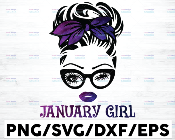 WTMETSY16122020 01 46 Vectorency January Girl PNG, Messy Bun Birthday PNG, Face Eyes PNG, Winked Eye PNG, Birthday Month PNG, Digital Download