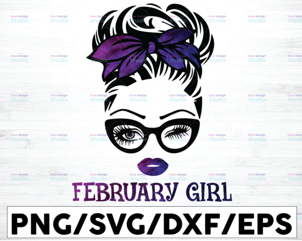 WTMETSY16122020 01 47 Vectorency February Girl PNG, Messy Bun Birthday PNG, Face Eyes PNG, Winked Eye PNG, Birthday Month PNG, Digital Download
