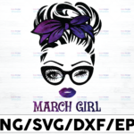WTMETSY16122020 01 48 Vectorency March Girl PNG, Messy Bun Birthday PNG, Face Eyes PNG, Winked Eye PNG, Birthday Month PNG, Digital Download