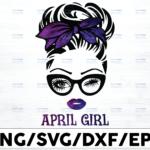 WTMETSY16122020 01 49 Vectorency April Girl PNG, Messy Bun Birthday PNG, Face Eyes PNG, Winked Eye PNG, Birthday Month PNG, Digital Download