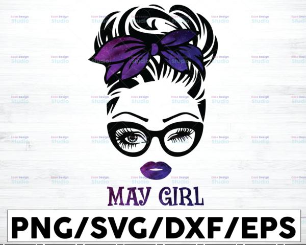 WTMETSY16122020 01 50 Vectorency May Girl PNG, Messy Bun Birthday PNG, Face Eyes PNG, Winked Eye PNG, Birthday Month PNG, Digital Download