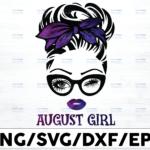 WTMETSY16122020 01 53 Vectorency August Girl PNG, Messy Bun Birthday PNG, Face Eyes PNG, Winked Eye PNG, Birthday Month PNG, Digital Download