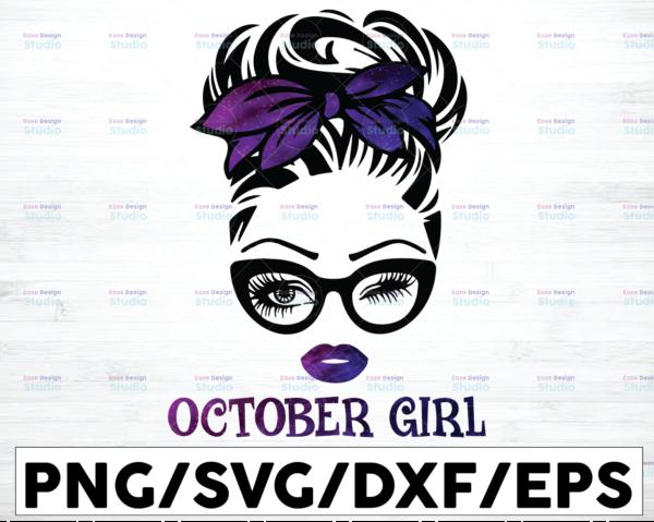 WTMETSY16122020 01 55 Vectorency October Girl PNG, Messy Bun Birthday PNG, Face Eyes PNG, Winked Eye PNG, Birthday Month PNG, Digital Download