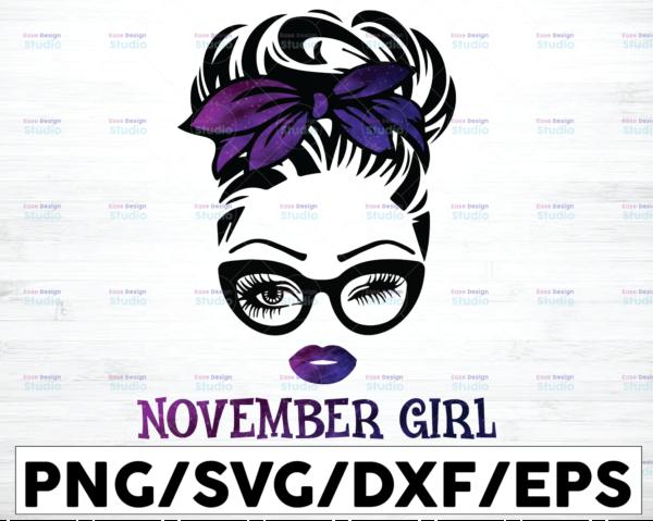 WTMETSY16122020 01 56 Vectorency November Girl PNG, Messy Bun Birthday PNG, Face Eyes PNG, Winked Eye PNG, Birthday Month PNG, Digital Download