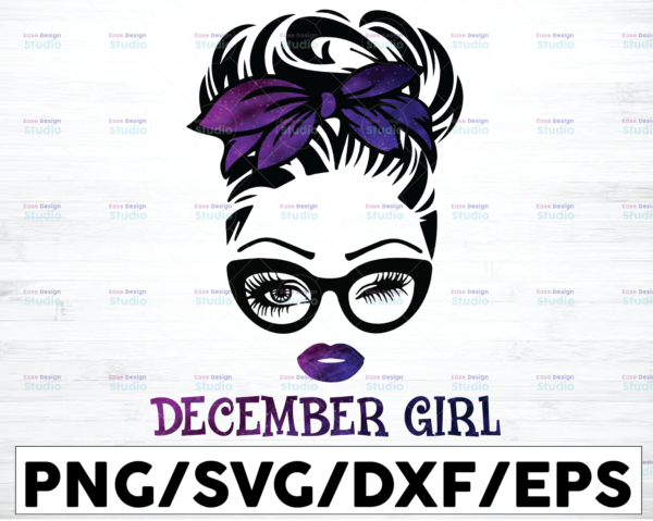 WTMETSY16122020 01 57 Vectorency December Girl PNG, Messy Bun Birthday PNG, Face Eyes PNG, Winked Eye PNG, Birthday Month PNG, Digital Download