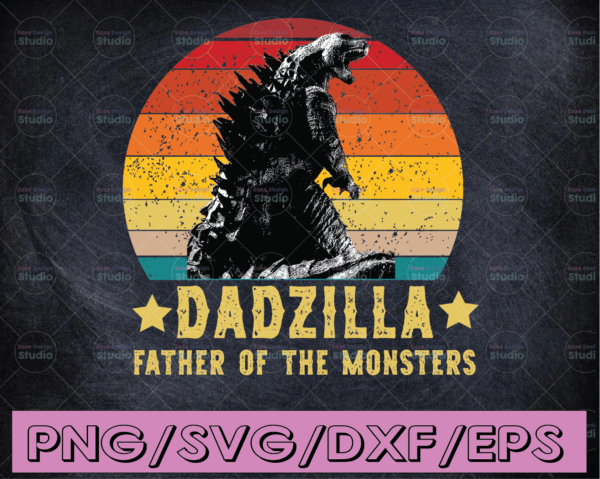 WTMETSY16122020 04 19 Vectorency Dadzilla Father Of The Monsters Retro PNG Vintage Sunset Premium Face Mask Cricut Father's Day Dad Father Lovers Dadzilla Father's Day