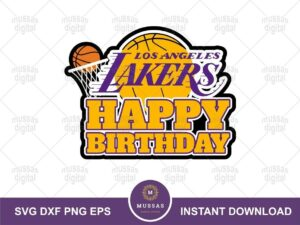 lakers happy birthday cake topper PNG
