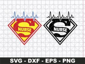 superman nurse heartbeat svg