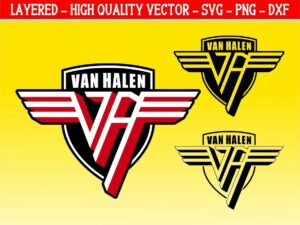 van halen svg layered 2 color and silhouette