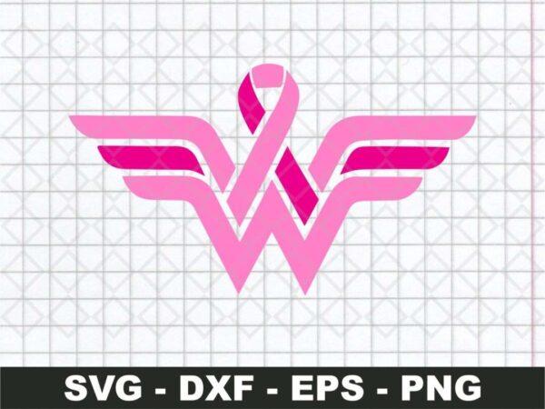 wonder woman breast logo cancer svg