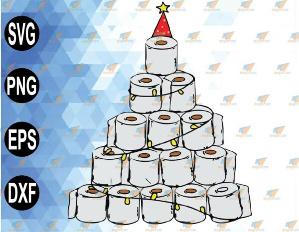 wtm 01 80 Vectorency Toilet Paper Christmas Tree SVG, PNG Christmas SVG Toilet Paper Tree SVG, Printable File for Cricut, Silhouette