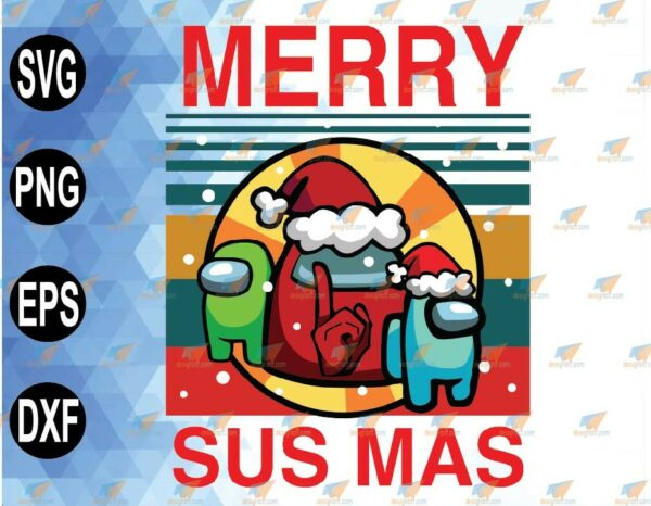 wtm 01 82 Vectorency Merry Sus Mas PNG, Santa Sus PNG, Impostor PNG, Among Us SVG File, Christmas Gifts, Sublimation Digital Instant Download