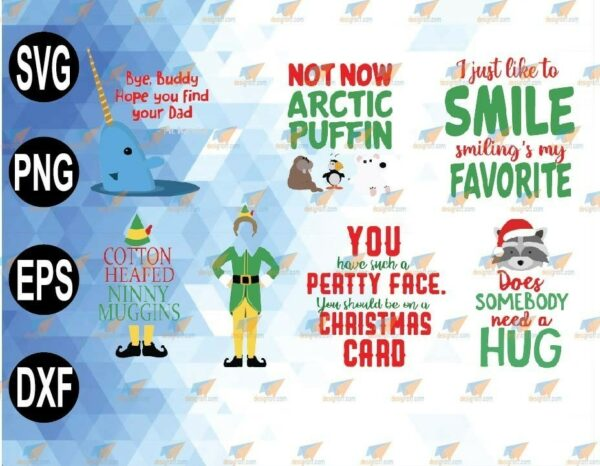 wtm 01 87 Vectorency Merry Christmas & Image Bundle DOWNLOAD SVG, PNG, Dxf Eps, Ai Files Buddy Mr Narwhal Hat Legs Create Christmas