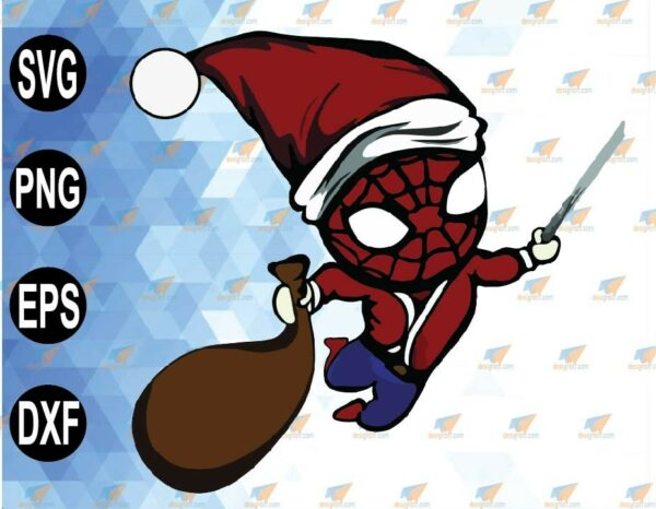 wtm 01 92 Vectorency Little Spiderman for Christmas SVG File, Spiderman Cut File, Santa Claus Baby Spiderman SVG, Baby Avengers SVG, Spiderman Silhouette