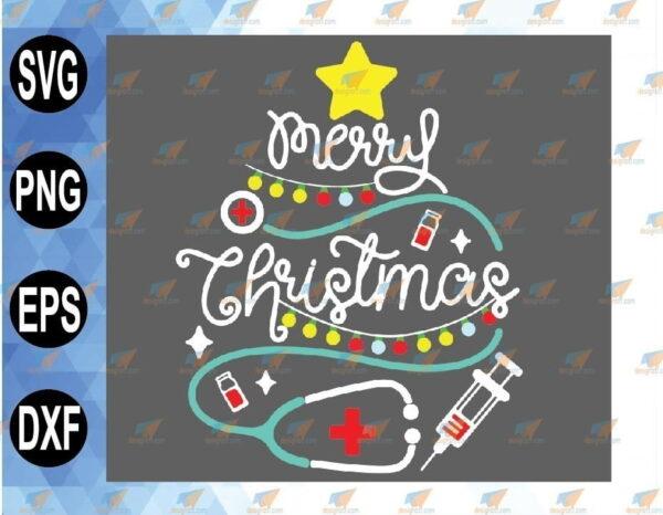 wtm 01 94 Vectorency Merry Christmas SVG, Nurse Christmas, Nursing SVG, Doctor SVG, Doctor Life, Nurse Life, Stethoscope Tree, Digital Download