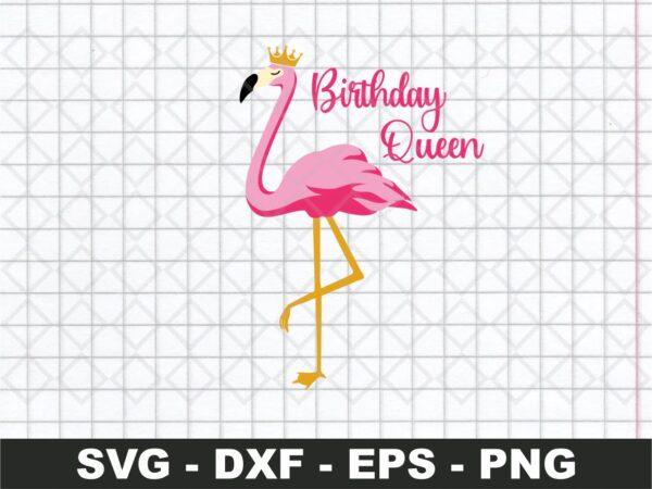 Animal lover flamingos birthday queen SVG Cut file
