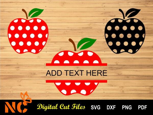 Apple 3 models Listing Vectorency Apple with Polka Dots, Monogram SVG