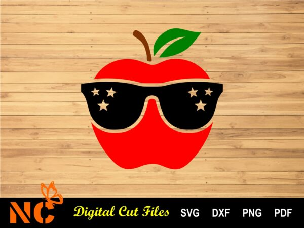 Apple With Sunglasses Listing Vectorency Apple with Sunglasses SVG
