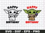 Baby Yoda Happy Birthday SVG