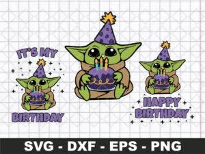 Baby Yoda SVG, Happy Birthday SVG