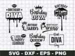 Birthday Queen Svg Bundle, Birthday Diva Svg, Dripping Lips Birthday SVG