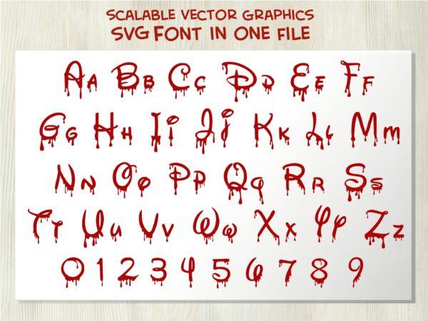 Bloody Disney 5 scaled Vectorency Halloween Bloody Dripping font otf, Halloween Dripping font svg, Halloween Bloody Dripping letters SVG file for cricut, Bloody Dripping font, Dripping font